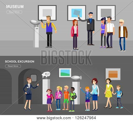 Funny character people in museum. Archeological museum of antiquity and natural science museum exposition for children, museum guided tour, exhibition space, museum audioguide, museum flat banner