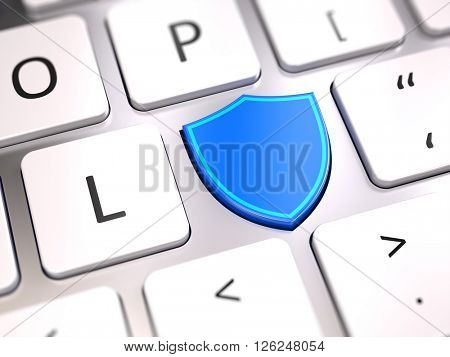 Shield shaped button on computer keyboard - Security and antivirus firewall protection concept. 3d rendering