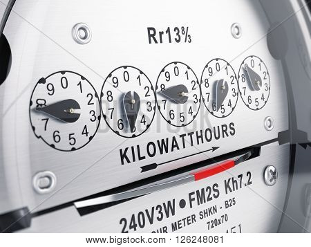 Kilowatt hour electric meter, power supply meter. 3d rendering