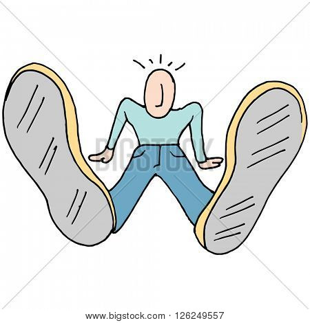 An image of a Man with big feet.