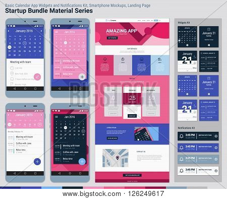 Material design responsive pixel perfect UI mobile calendar app, widgets and notifications kit, smartphone mockups and website landing page template with trendy material header background. Startup Bundle Material Series