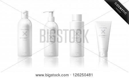 Realistic cosmetic bottle mock up set package. Cosmetic brand template. Vector cosmetic packaging. Shampoo pack. Blank cosmetic package. Cosmetic beauty products. Cosmetic isolated product. 3d cosmetic bottle. Plastic cosmetic bottle.
