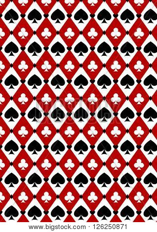 Seamless casino gambling poker background with red, black, white cards symbols. Seamless pattern is in the swatches palette.