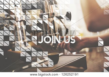 Join Us Follow Us Recruitment Register Concept