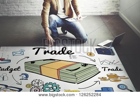 Trade Business Dealing Exchange Merchandise Swap Concept poster