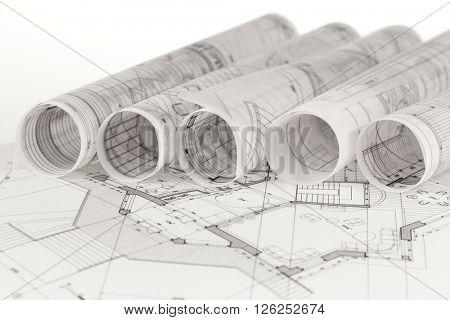 rolls of architecture blueprints & house plans