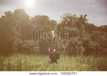 Business Man Forest Nature Standing Concept