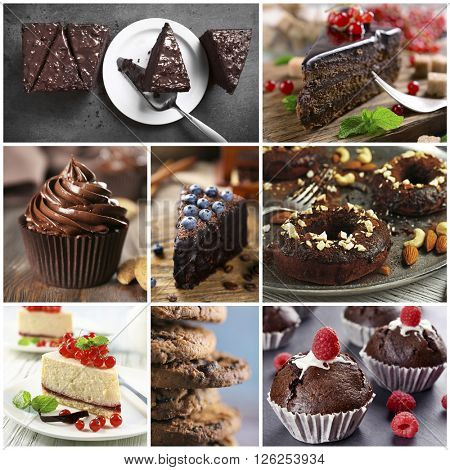 Chocolate cakes. Tasty collage