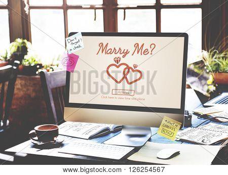 Marry me Love Heart Inscription Concept