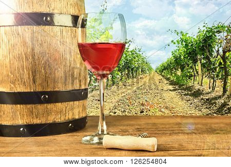 Red wine in glass and barrel on nature background