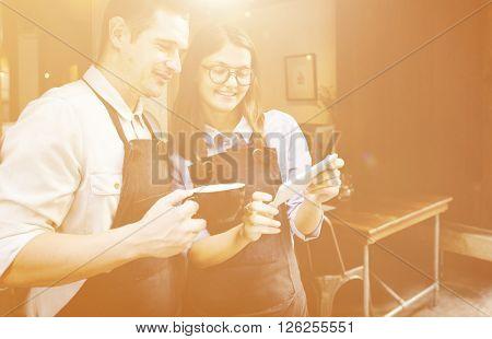 Barista Breaking Service Partner Apron Coffee Concept