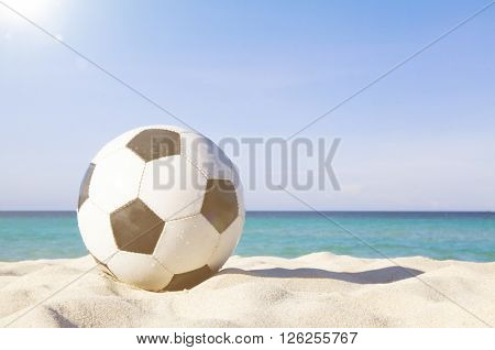 Let's Have Fun Football Beach Relaxation Concept