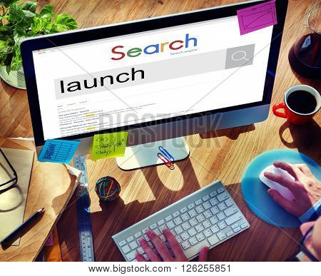 Businessman Connect Internet Search Website Concept