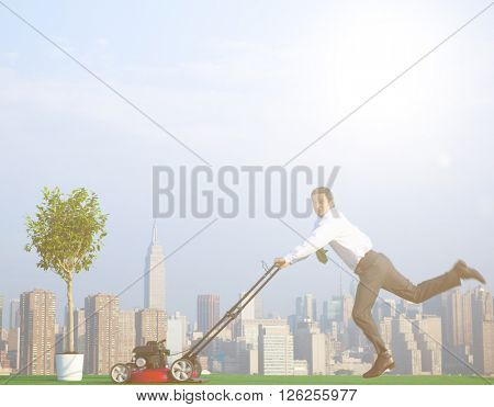 Green Businessman in the City mowing lawn Concept