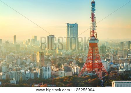 Tokyo Tower with the City of Tokyo in Twilight