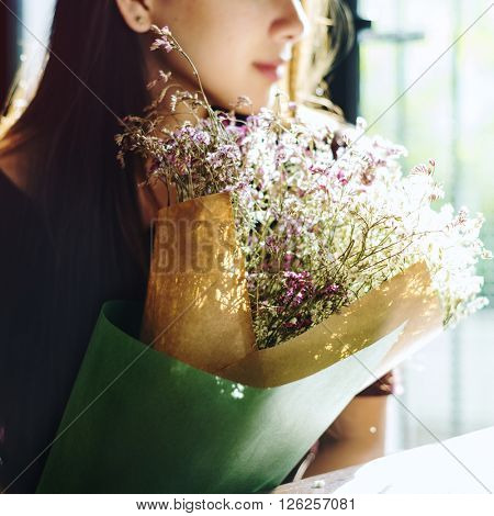 Joyful Lonely Present Style Relaxing Women Girl Concept