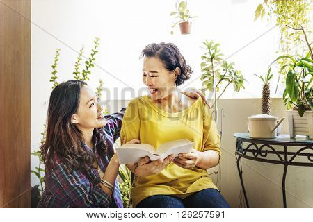 Mother Daughter Casual Adorable Happiness Life Concept