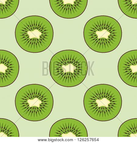 Vector seamless pattern with fresh green kiwi fruit. Great for design of healthy lifestyle or diet. For wrapping paper textiles and other food designs. Kiwi fruit vector illustration. Slices of kiwi.