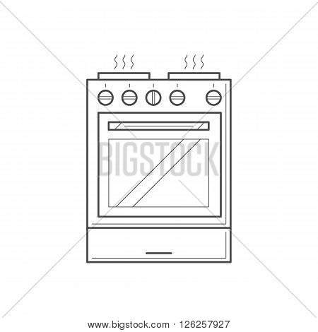 Kitchen object concept - thin line electric cooker. Stove with glass oven and burner. Thin line style stove, vector art image illustration. Kitchen appliance isolated on white background