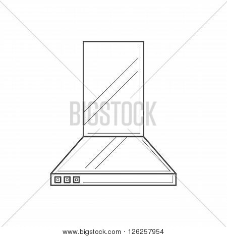 Kitchen hood isolated thin line icon. Home line vector icon for websites and mobile design. Extractor hood vector illustration.