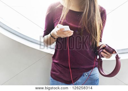 Chilling Calm Casual Electronic Earphone Audio Concept