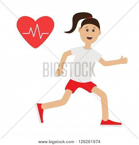 Funny cartoon running girl Heart beat icon Cute run woman Jogging lady Runner Fitness cardio workout running female character Isolated White background. Flat design Vector illustration