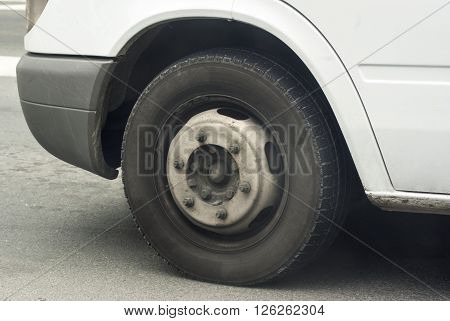 Wheel on the car without decorative plate