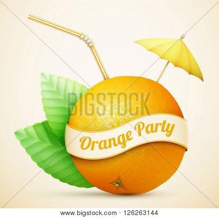 Fresh Orange With Umbrella And Stick