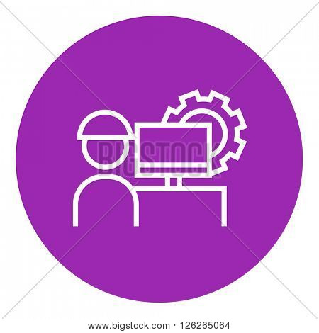 Computerized production line icon.