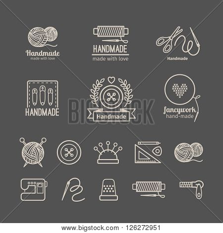 Handicraft logo set. Hand crafted signs and hand made labels elements. Vector illustration