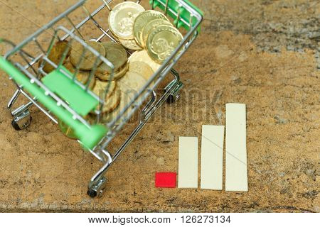 Trolley filled with coins beside chart showing increasing trend.. Concept of growth, consumerism,increasing trend,inflation,purchasing and spending power,economy.