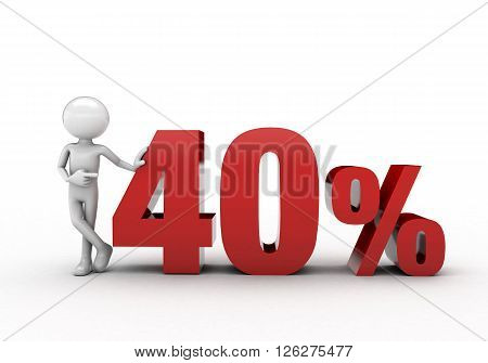 3D character with 40% discount sign white background
