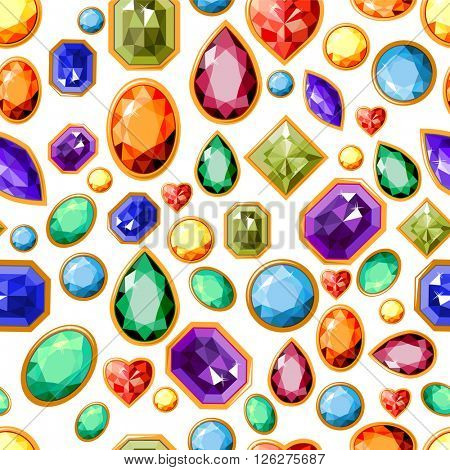 Seamless pattern with jewels. Endless texture for your design.