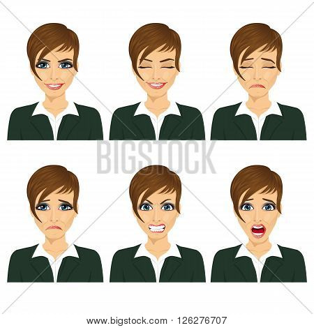 Young business woman with different facial expressions isolated over white background