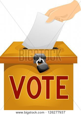 Illustration of a Man Dropping a Ballot in a Ballot Box