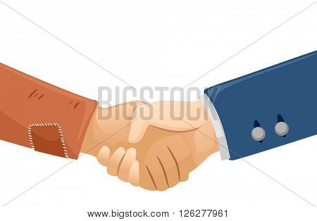 Illustration of a Rich Man Shaking Hands with a Poor Guy