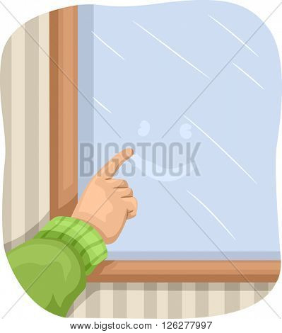 Illustration of a Kid Drawing a Smiley on a Foggy Window