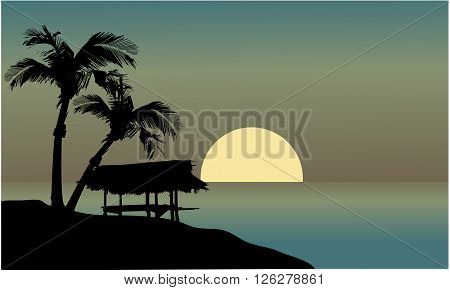 Landscape hut in beach at the afternoon