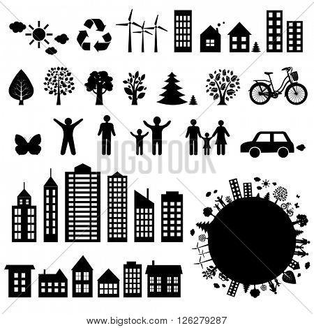 City Icons Big Set, Vector Illustration
