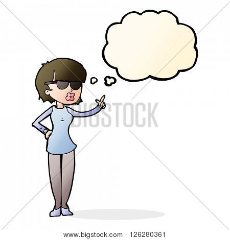 cartoon woman wearing spectacles with thought bubble