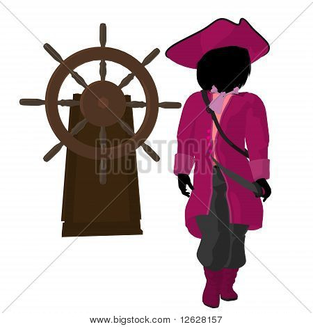 A teen pirate with a ship wheel on a white background poster