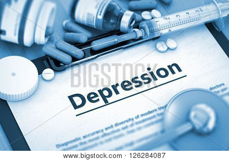 Diagnosis - Depression On Background of Medicaments Composition - Pills, Injections and Syringe. Depression, Medical Concept with Pills, Injections and Syringe. 3D.