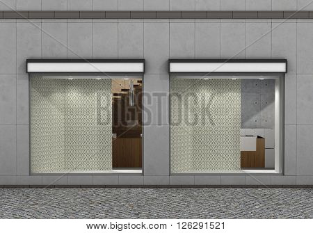 Shop Front. Exterior horizontal windows empty for your store product presentation or design. 3d illustration