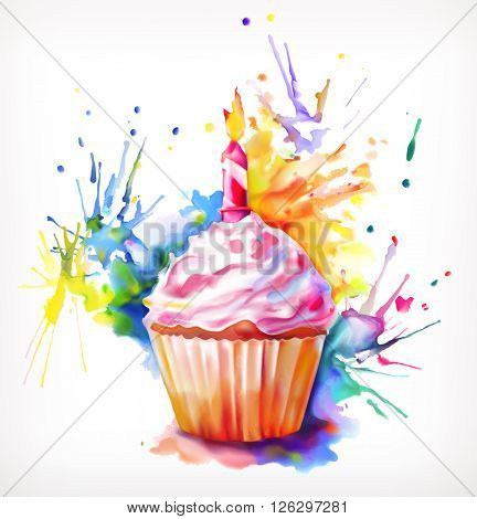 Watercolor painting, festive cupcake with candle, vector illustration, isolated on a white background