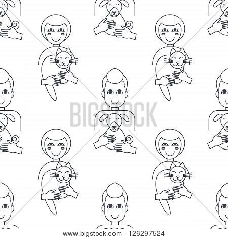 Happy pet owners, men and women, hug their pets. Cat and dog adoption concept. Vector line seamless pattern black on white background.