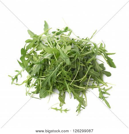 Pile of eruca sativa rucola arugula fresh green rocket salad leaves, composition isolated over the white background