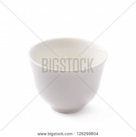Small white ceramic bowl isolated over the white background
