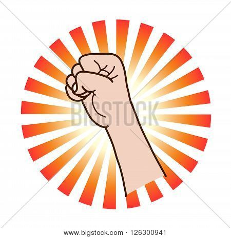 Power and Strength, a hand drawn vector illustration of a raised fist, isolated on a simple background (editable).