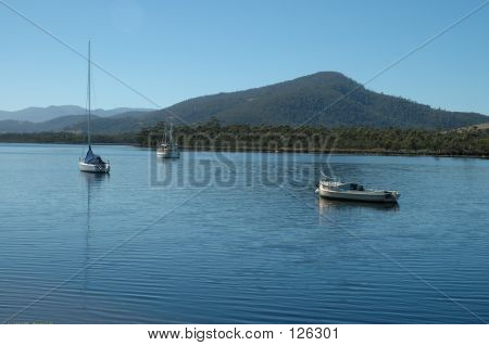 Huon River boats, Franklin, Tasmania, Australia poster