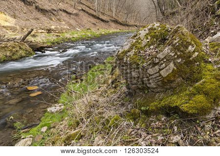 A river in the woods during spring with ruins of an old drinking fountain.